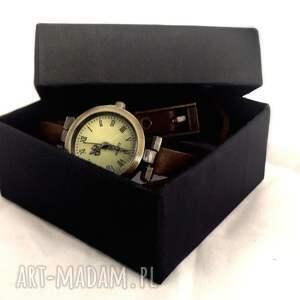 brązowe zegarki vintage motyl - zegarek /