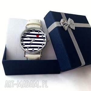 niebieskie zegarki marynarski nadmorski klimat - skórzany zegarek