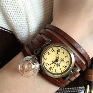 białe zegarki bransoletka nasiona dmuchawca