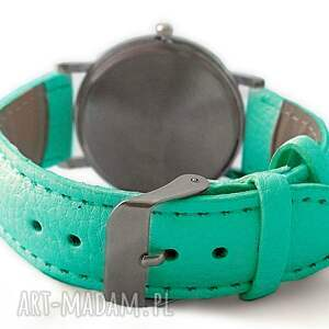 zegarek zegarki turkusowe niezapominajki - skórzany