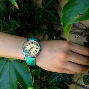 beżowe zegarki skórzany niezapominajki - zegarek z