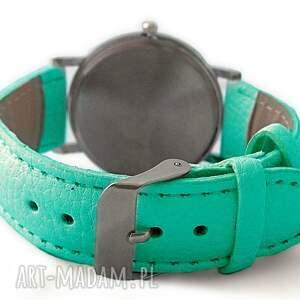 zegarek zegarki turkusowe niezapominajki - skórzany z