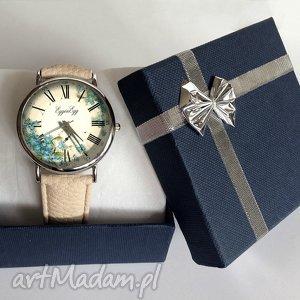 niebieskie zegarki zegarek niezapominajki - skórzany