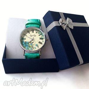 nietypowe zegarki zegarek niezapominajki - skórzany z