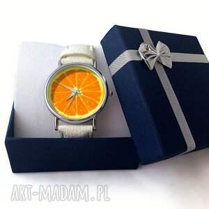 żółte zegarki zegarek pomarańcza - skórzany