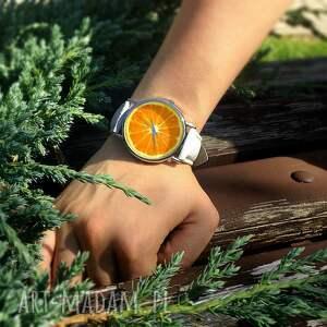 ręczne wykonanie zegarki zegarek pomarańcza - skórzany