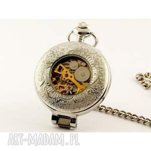 czarne zegarki zegarek elegancja w srebrze (black)