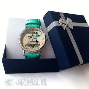 beżowe zegarki ptaki w klatce - skórzany zegarek z