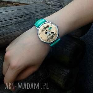 niesztampowe zegarki zegarek ptaki w klatce - skórzany
