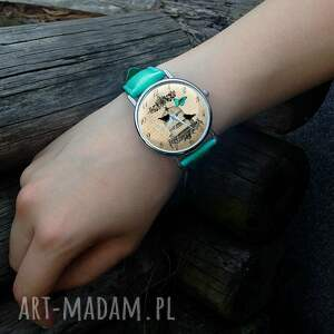 niesztampowe zegarki zegarek ptaki w klatce - skórzany z