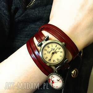 zegarek zegarki czerwone retro róże - / bransoletka