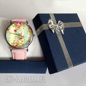 różowe zegarki skórzany retro róże - zegarek