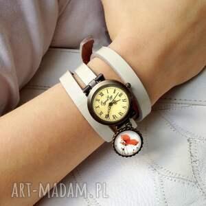 retro zegarki czerwone róże - zegarek / bransoletka