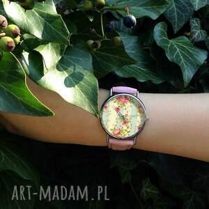 ręczne wykonanie zegarki zegarek retro róże - skórzany