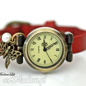 hand made zegarki motyl skórzany zegarek