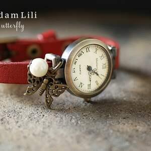 brązowe zegarki skóra skórzany zegarek motyl