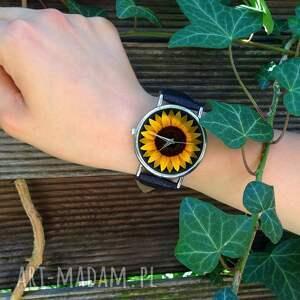 zegarki słonecznik - skórzany zegarek
