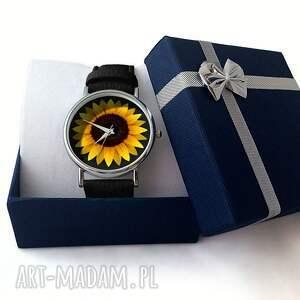 żółte zegarki zegarek słonecznik - skórzany