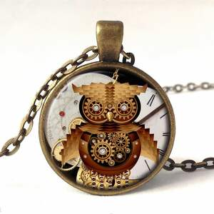 zegarek zegarki brązowe steampunkowa sowa - /