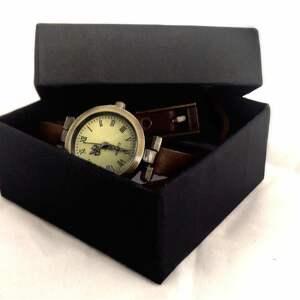 białe zegarki zegarek steampunkowa sowa - /