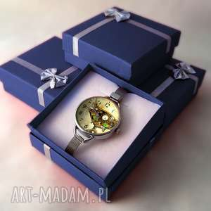 brązowe zegarki kot steampunkowy - zegarek z dużą