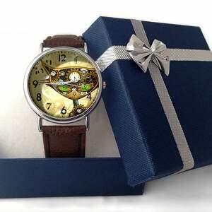 brązowe zegarki kot steampunkowy - skórzany zegarek