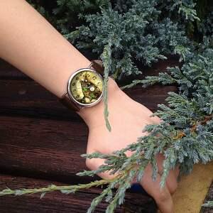 hand-made zegarki steampunk steampunkowy kot - skórzany zegarek
