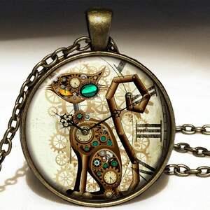 steampunk zegarki brązowe steampunkowy kot - zegarek /