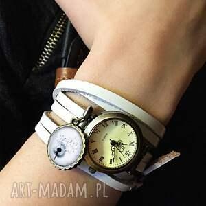 białe zegarki bransoletka steampunkowy smok - zegarek /