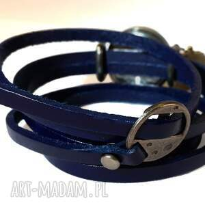 niebieskie zegarki zegarek subtelny róż - zegarek/bransoletka