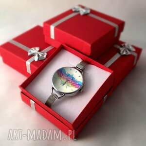 kolorowe zegarki zegarek tęczowa sowa - z dużą