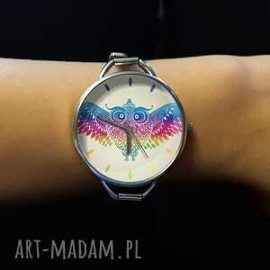 ręczne wykonanie zegarki zegarek tęczowa sowa - z dużą