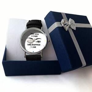 czarne zegarki zegarek the less i care - skórzany