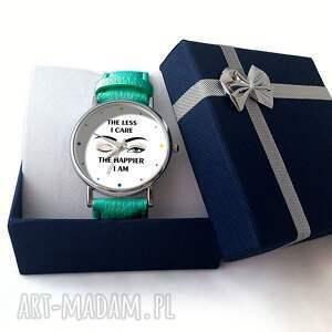 kolorowe zegarki zegarek the less i care - skórzany