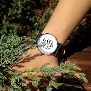 ręcznie wykonane zegarki zegarek the less i care - skórzany