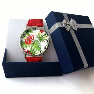 zielone zegarki trapikalny tropikalne kwiaty - skórzany
