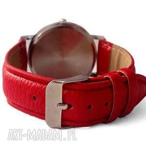 zegarek zegarki czerwone tropikalne kwiaty - skórzany