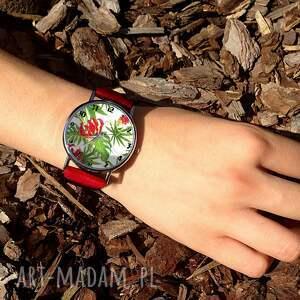 zegarki zegarek tropikalne kwiaty - skórzany