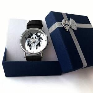 czarne zegarki skórzany wilk - zegarek z dużą