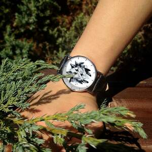 hand-made zegarki zegarek wilk - skórzany z dużą