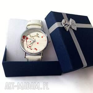 beżowe zegarki skórzany zakochane ptaszki -