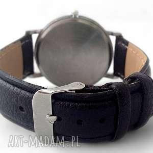 skórzany zegarki białe zakręcony kot - zegarek