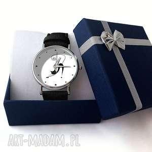czarne zegarki zegarek zakręcony kot - skórzany
