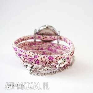 Zegarek, bransoletka - Jaskółka - fioletowe kwiaty - owijany - Hand