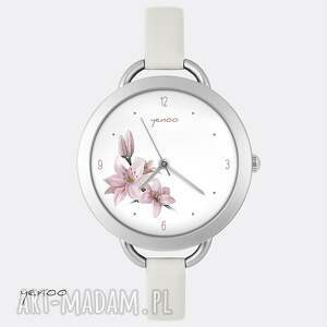 białe zegarki bransoletka zegarek, - różowa