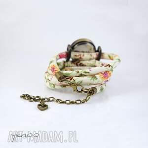ręcznie robione zegarki zegarek, bransoletka - kwiaty