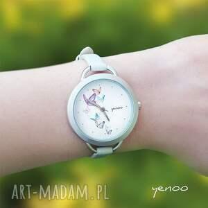 srebrne bransoletka zegarek, motyle