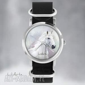 hand made zegarki zegarek zegarek, bransoletka - biały koń
