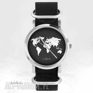 czarne zegarki mapa zegarek, bransoletka - świata