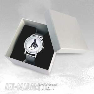 czarne zegarki metalowa zegarek, bransoletka - czarny koń
